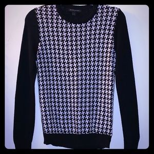 Partial black & white houndstooth Sweater